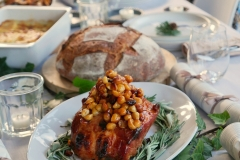 Honey glazed ham with macadamia nuts