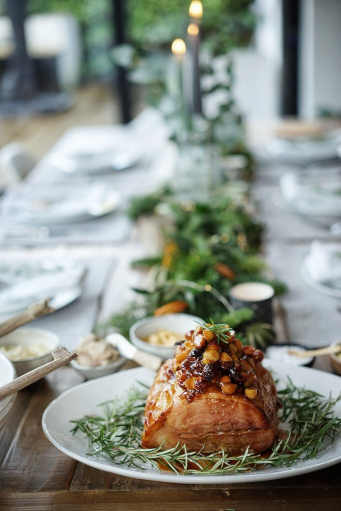Christmas table with honey glazed ham